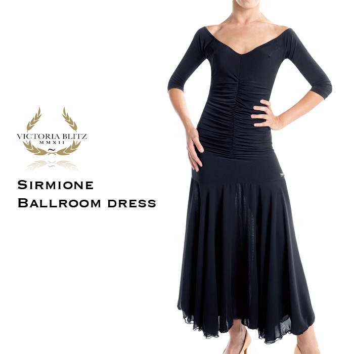 ワンピース 社交 ダンス 衣装 ビクトリアブリッツ Victoria Blitz シルミオーネ・ボールルームドレス 練習着 競技 モダン スタンダード レディース ファッション 女性 XS-L 黒 イタリア 海外
