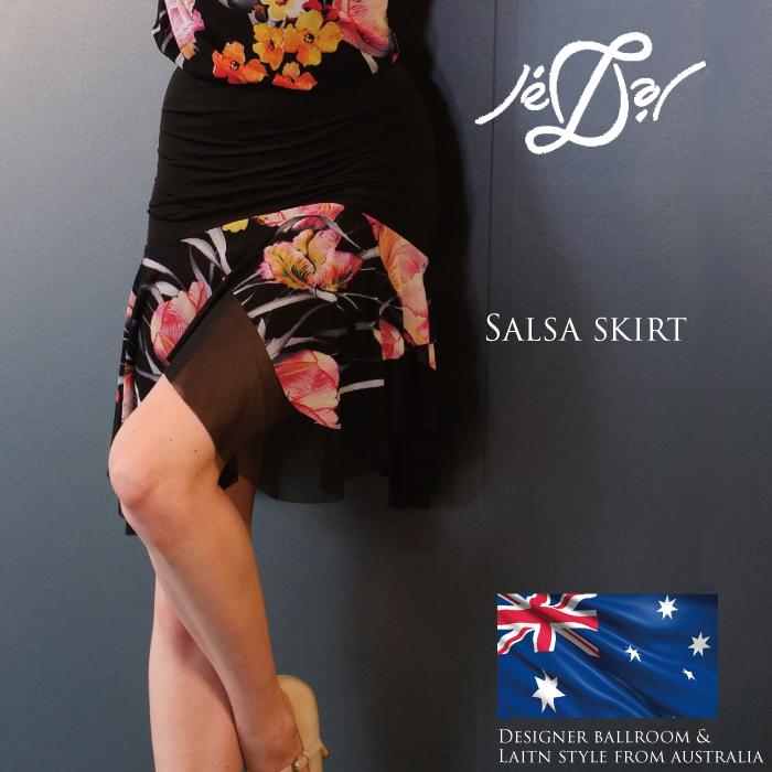 【社交ダンススカート - ジェドール(Je'Dor)】サルサ・スカート(フローラルブラック) - 社交ダンス/社交ダンス衣装/社交ダンスウェア/衣装/スカート/ラテン/海外/ブランド