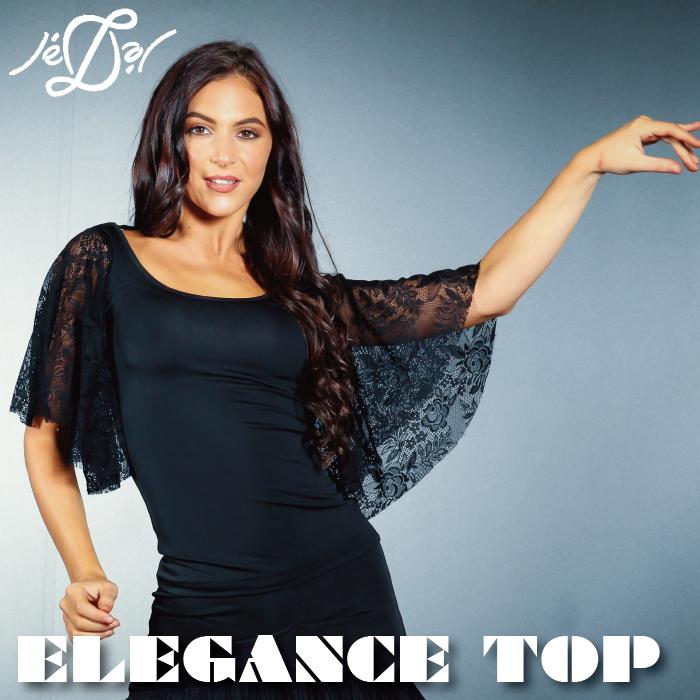 社交ダンス ダンストップス 練習着 Je'Dor ジェドール エレガンス・スリーブ・トップ(ブラックレース) 社交ダンス衣装 トップス レディース 女性 XS-L 黒 海外