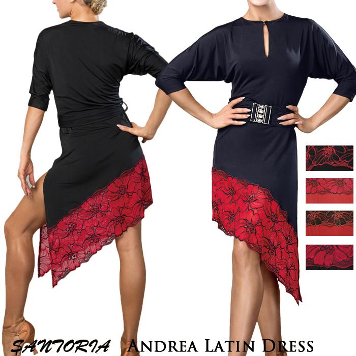 サントリア S-XL 女性 ラテン 練習着 海外 ワンピース ダンス レディース アンドレア・ラテンドレス 社交ダンス衣装 社交ダンス Santoria