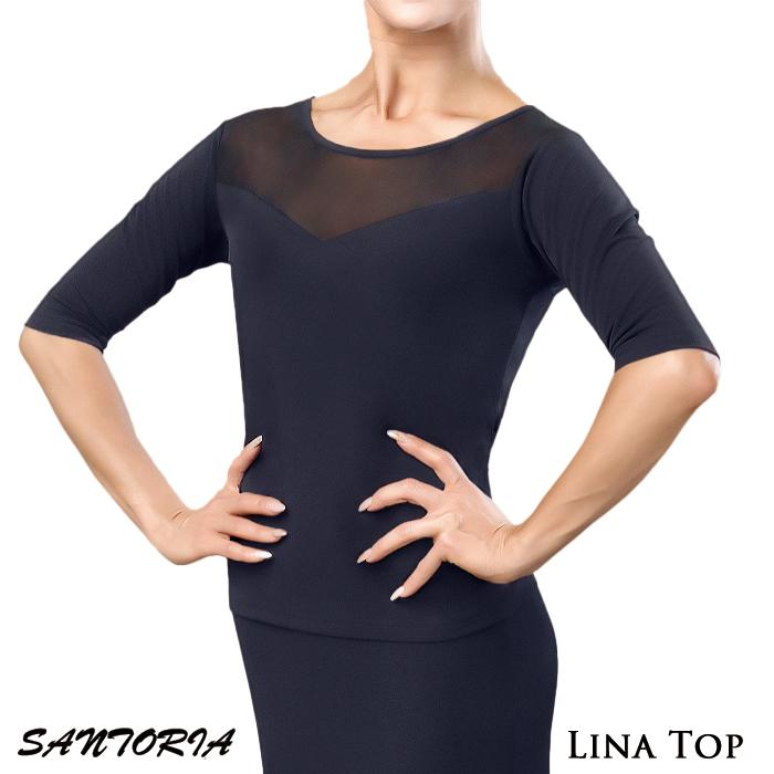 社交ダンス衣装 ダンス 海外 レディース サントリア ラテン 練習着 モダン Santoria S-XL 女性 トップス 社交ダンス スタンダード リナ・ダンストップ