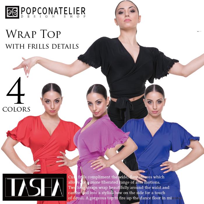 社交ダンス トップス PopconAtelier ポップコンアトリエ フリルディテール・カシュクールトップ(タシャコレクション)- 社交ダンス 社交ダンス衣装 社交ダンスウェア 衣装 トップス モダン スタンダード ラテン 海外 ブランド -