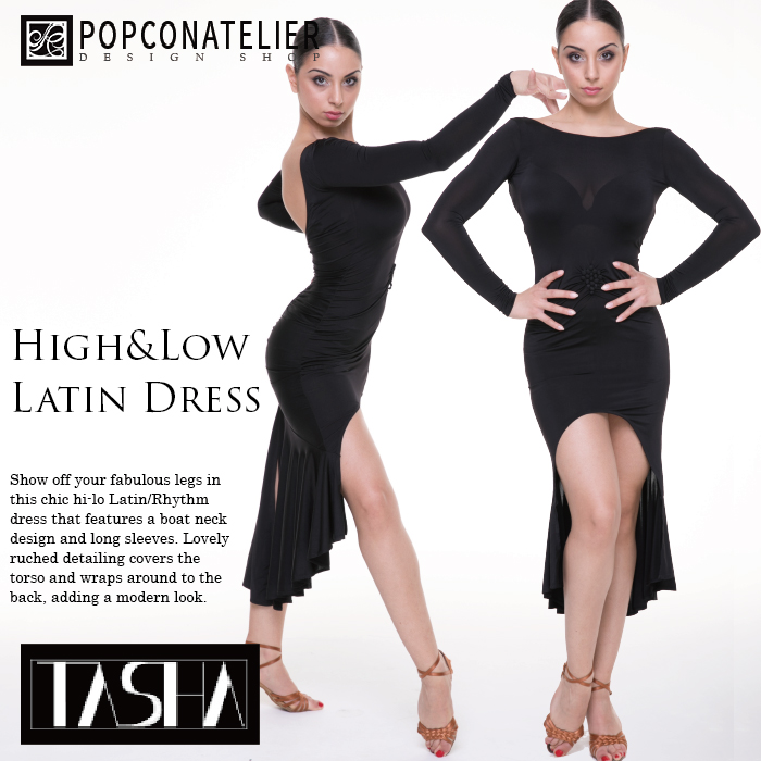 社交ダンス ワンピース ポップコンアトリエ ハイ・アンド・ロー・ラテンドレス(タシャコレクション) 韓国製 XS-L ブラック