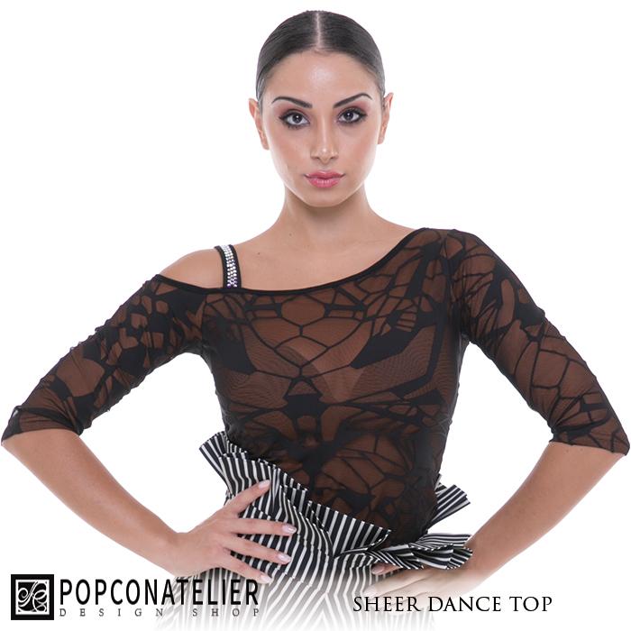 社交ダンス トップス PopconAtelier ポップコンアトリエ メッシュ・ダンストップ- 社交ダンス 社交ダンス衣装 社交ダンスウェア 衣装 トップス モダン スタンダード ラテン 海外 ブランド -