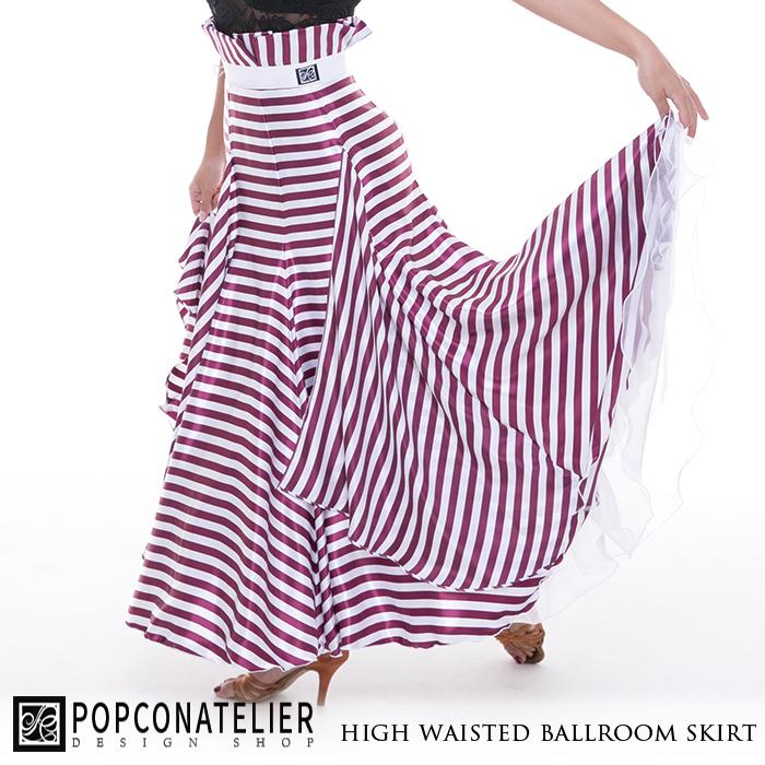 社交ダンス スカート PopconAtelier ポップコンアトリエ ハイウエスト・ボーダー・ボールルームスカート(パープル)- 社交ダンス 社交ダンス衣装 社交ダンスウェア 衣装 スカート モダン スタンダード ラテン 海外 ブランド -