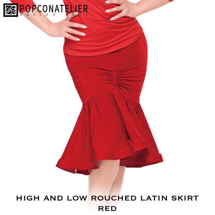 社交ダンス スカート 練習着 PopconAtelier ポップコンアトリエ ハイアンドロー・シャーリング・ラテンスカート(レッド) ラテン 社交ダンス衣装 ダンス レディース 女性 S-L 海外