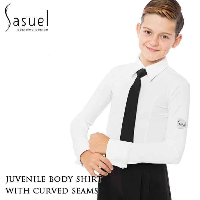 Sasuel サシュエル カーブ・ボーイズダンスシャツ 男の子 ボーイズ 社交ダンス 社交ダンス衣装 衣装 競技シャツ ジュニア ジュブナイル レオタード シャツ かっこいい 子供 キッズ ダンス スポーツ ルーマニア製 ヨーロッパ 海外 白 XS-L