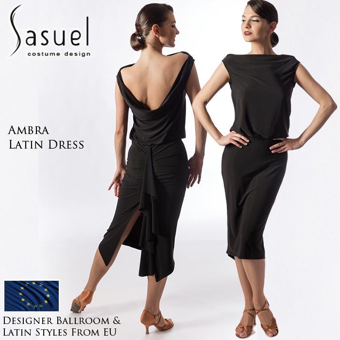 ラテン ファッション ラテンドレス 社交ダンス XXS-XL 練習着 黒 ワンピース 女性 Sasuel サシュエル アンブラ・ラテンドレス 海外 膝丈 レディース
