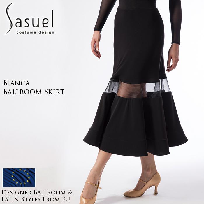 社交ダンス 練習着 スカート サシュエル Sasuel ビアンカ・ボールルームスカート モダン ロングスカート レディース ファッション 女性 XXS-XL 黒 海外