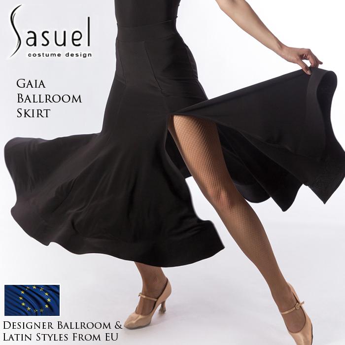 社交ダンス 練習着 スカート サシュエル Sasuel ガイア・ボールルームスカート モダン ロングスカート レディース ファッション 女性 XXS-XL 黒 海外