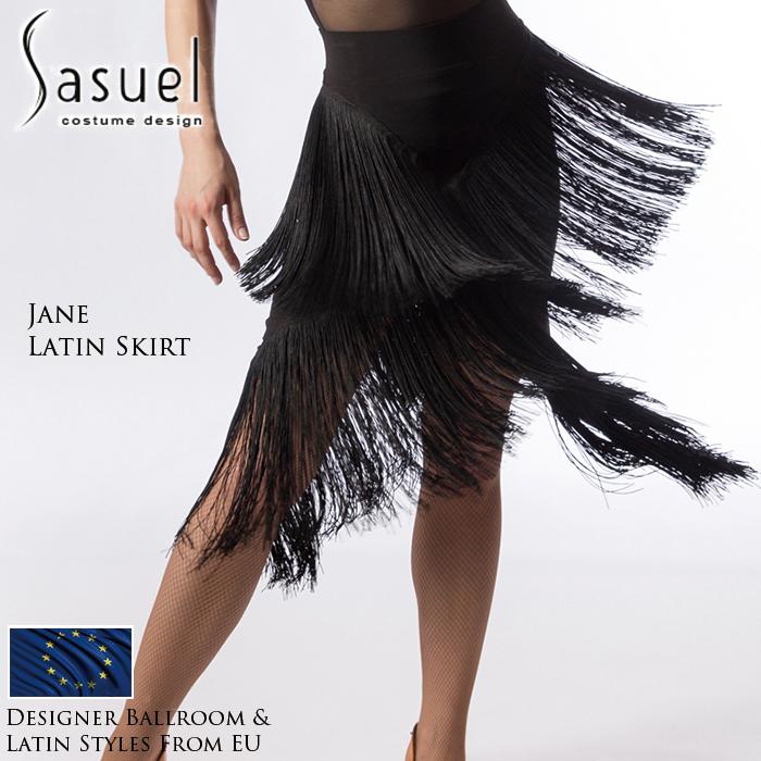 社交ダンス 練習着 スカート サシュエル Sasuel ジェーン・ラテンスカート レディース ラテン ファッション 女性 XXS-XL 黒 海外
