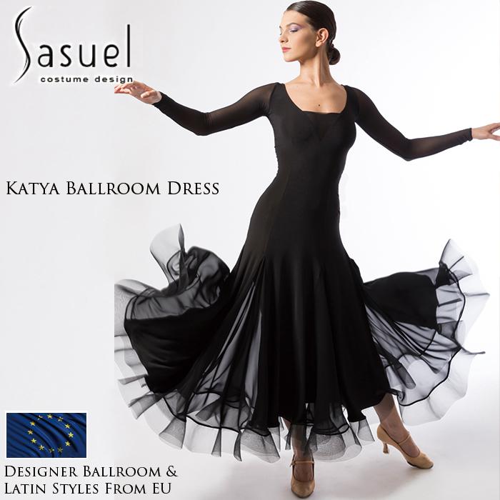 社交ダンス Sasuel 練習着 カチャ・ボールルームドレス レディース モダン モダンドレス ロングドレス サシュエル 海外 女性 ファッション XXS-XL 黒 ワンピース