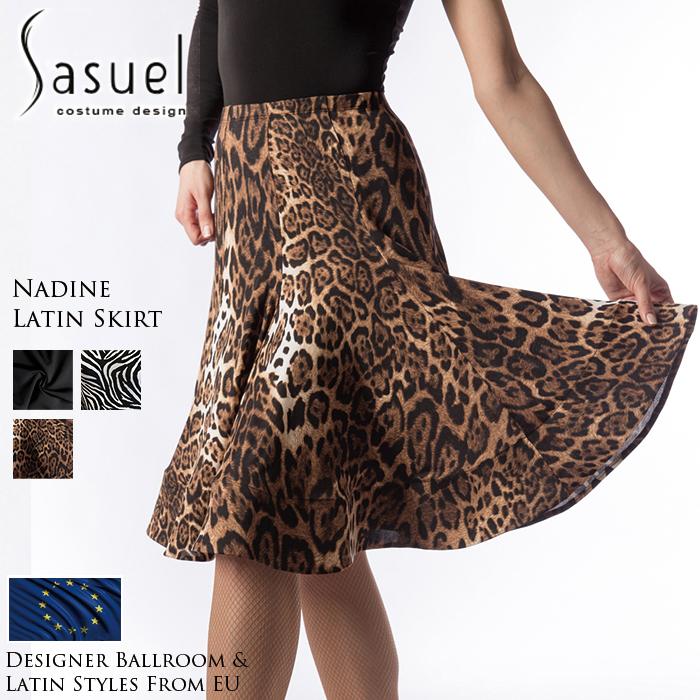 社交ダンス 練習着 スカート サシュエル Sasuel ネイディーン・ラテンスカート レディース ラテン ファッション 女性 XXS-XL 黒 アニマル 3色展開 海外
