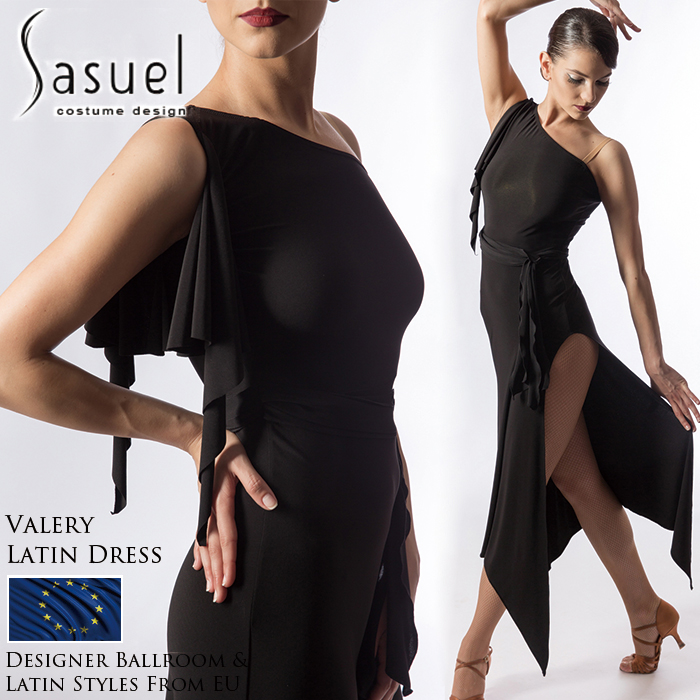 社交ダンス 練習着 ラテンドレス サシュエル Sasuel バレリー・ラテンドレス 膝丈 ワンピース レディース ラテン ファッション 女性 XXS-XL 黒 海外