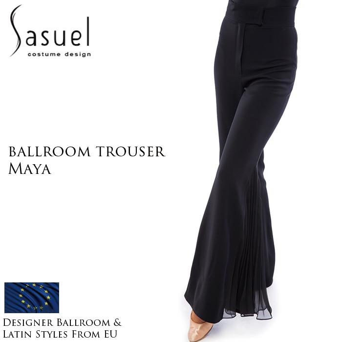 ダンスパンツ サシュエル Sasuel マヤ・ボールルームパンツ 社交ダンス 衣装 練習着 パンツ レディース ファッション 女性 XXS-XL 黒 海外