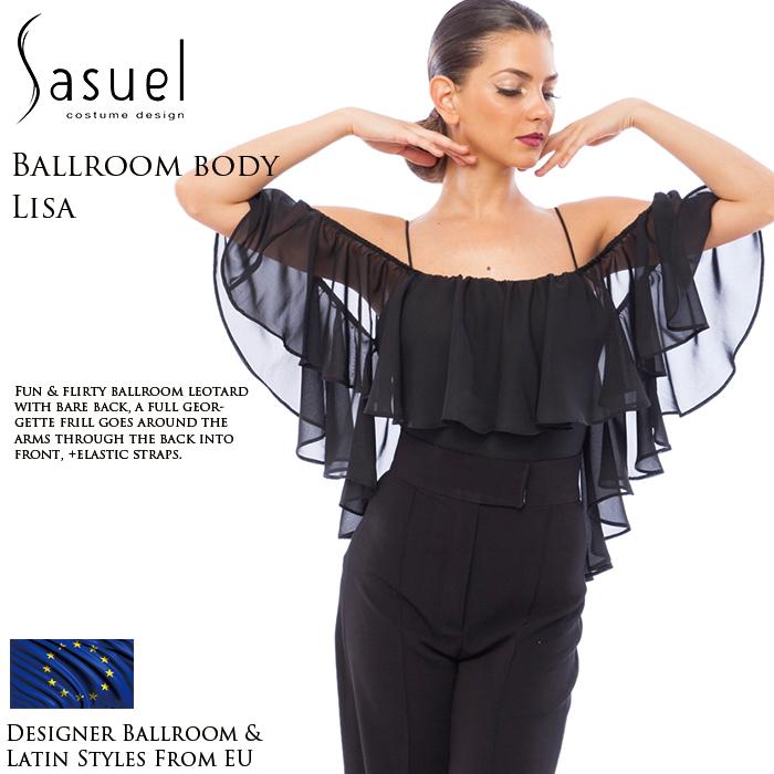 ダンストップス サシュエル Sasuel リサ・フリル・ダンスボディ 社交ダンス 衣装 練習着 トップス レオタード レディース ファッション 女性 XXS-XL 黒 海外