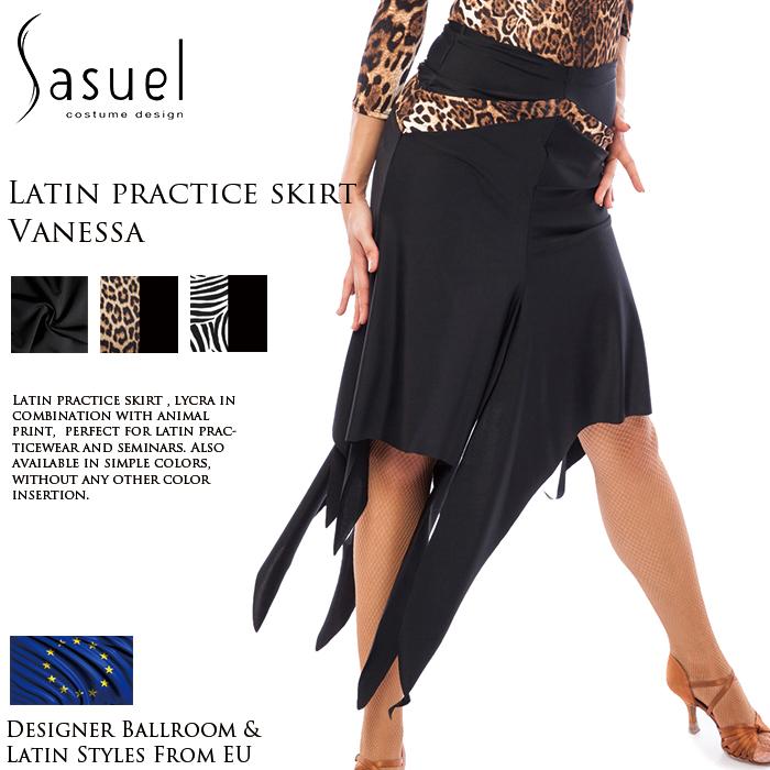 社交ダンス 練習着 スカート サシュエル Sasuel ヴァネッサ・アシンメトリー・ラテンスカート レディース ラテン ファッション 女性 XXS-XL 黒 海外