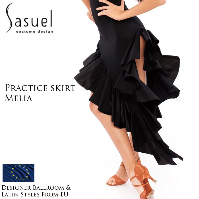 社交ダンス 練習着 スカート サシュエル Sasuel メリア・ラテンスカート レディース ラテン ファッション 女性 XXS-XL 黒 海外