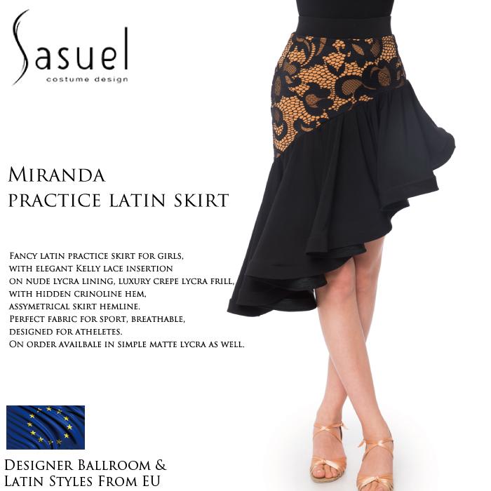 社交ダンス 練習着 スカート サシュエル Sasuel ミランダ・ラテンスカート レディース ラテン ファッション 女性 XXS-XL 黒 海外