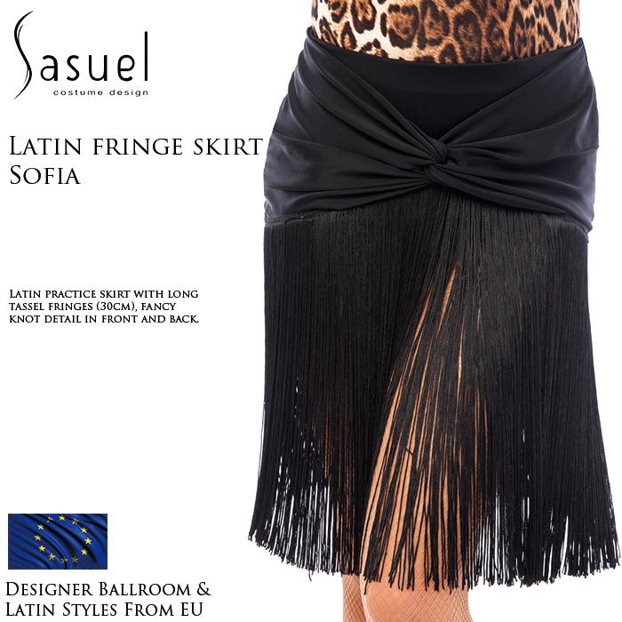 社交ダンス 練習着 スカート サシュエル Sasuel ソフィア・ラテンスカート レディース ラテン ファッション 女性 XXS-XL 黒 海外