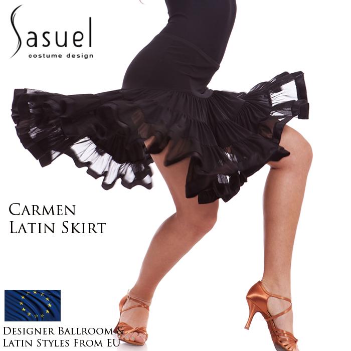 社交ダンス 練習着 スカート サシュエル Sasuel カルメン・ラテンスカート レディース ラテン ファッション 女性 XXS-XL 黒 海外
