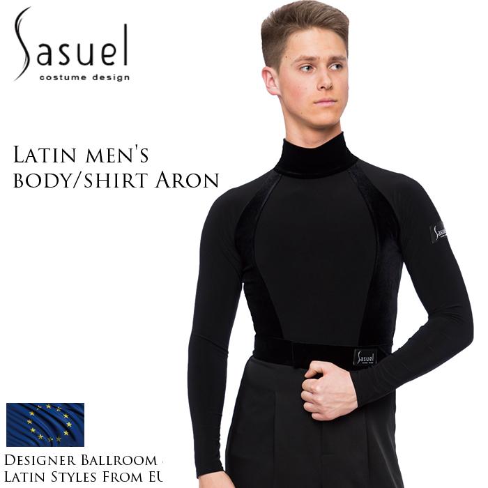 ダンス用メンズシャツ サシュエル Sasuel アーロン・ラテンボディシャツ 社交ダンス トップス 衣装 競技用 練習着 リーダー ラテン モダン スタンダード メンズ 男性 XS-XL 黒 ヨーロッパ 海外