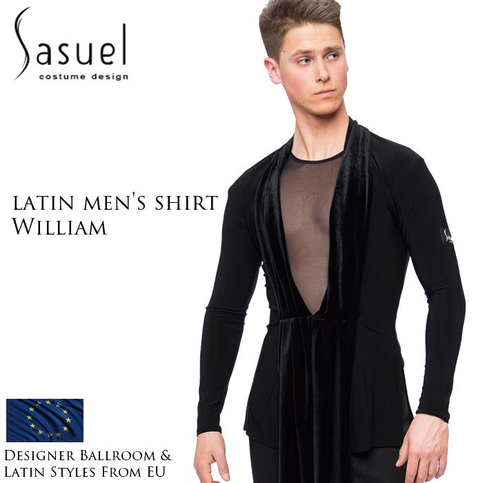 ダンス用メンズシャツ サシュエル Sasuel ウィリアム・ラテンシャツボディ 社交ダンス トップス 衣装 競技用 練習着 リーダー ラテン モダン スタンダード メンズ 男性 XS-XL 黒 白 ヨーロッパ 海外