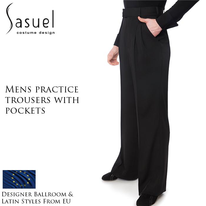 XS-XL スタンダード リーダー 練習着 男性 社交ダンス ヨーロッパ 競技用 海外 プラクティス・ダンスパンツ(ポケット付き) ラテン Sasuel サシュエル ダンス用メンズパンツ パンツ 黒 メンズ 衣装 モダン