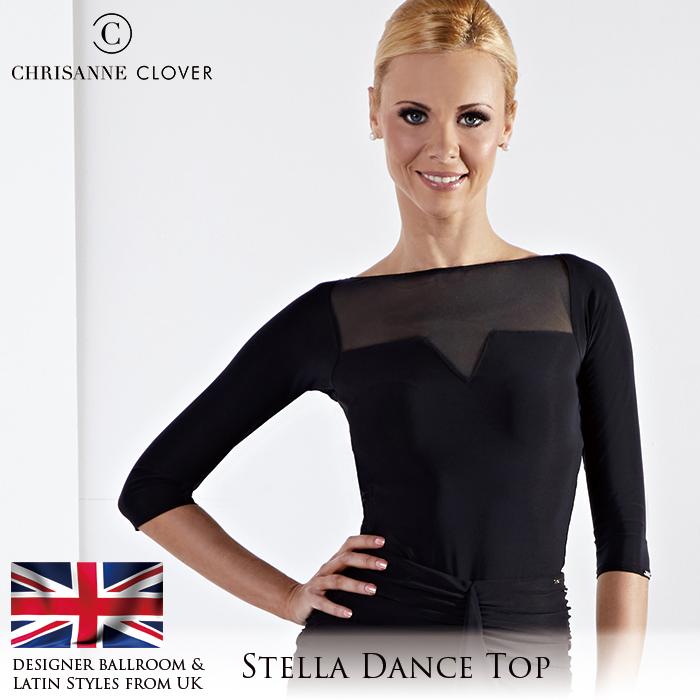 社交ダンス トップス 練習着 Chrisanne Clover クリスアンクローバー ステラ・ダンストップ(ブラック)(2019年コレクション) モダン ラテン スタンダード 社交ダンス衣装 ダンス レディース 女性 XS-XL 黒 海外