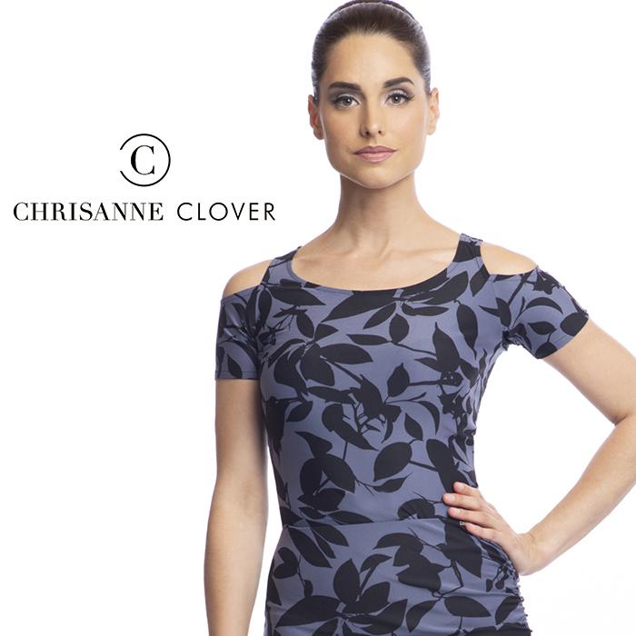 社交ダンス Clover XS-XL スタンダード 社交ダンス衣装 女性 Chrisanne ラテン 黒 ディーバ・ダンストップ(ヘマタイトプリント) モダン ダンス レディース クリスアンクローバー トップス 海外 練習着