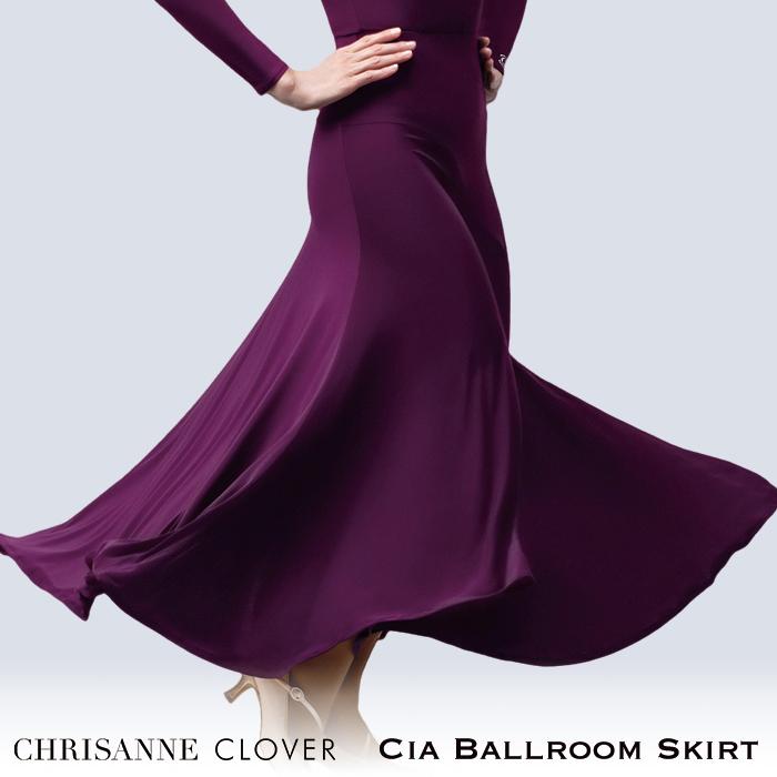 社交ダンス スカート 練習着 Chrisanne Clover クリスアンクローバー シア・ボールルームスカート(2020年コレクション)(プラム) モダン スタンダード 社交ダンス衣装 ダンス レディース 女性 XS-XL 黒 海外