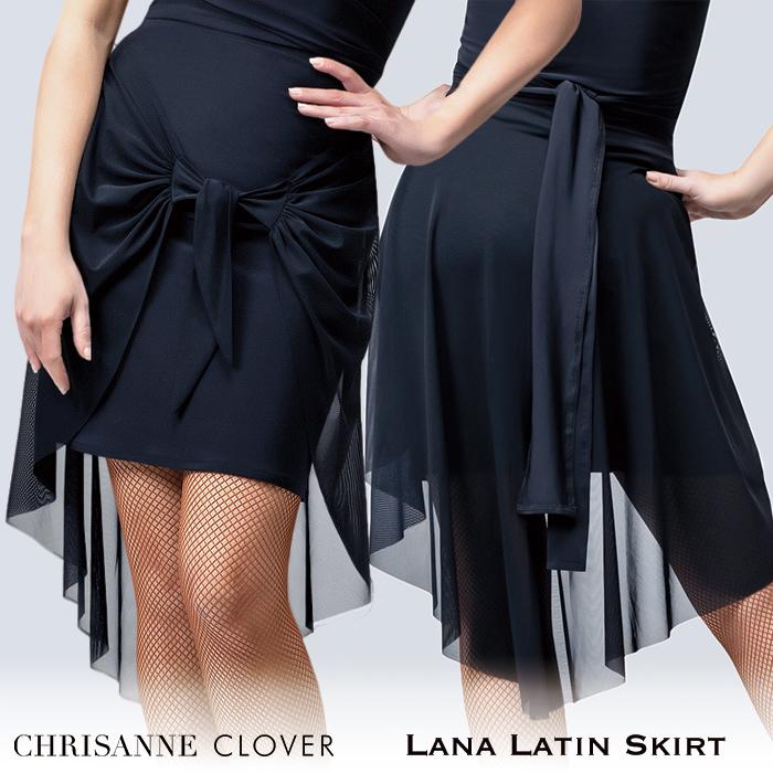 社交ダンス スカート 練習着 Chrisanne Clover クリスアンクローバー ラーナ・ラテンスカート(2020年コレクション) ラテン 社交ダンス衣装 ダンス レディース 女性 XS-XL 黒 海外