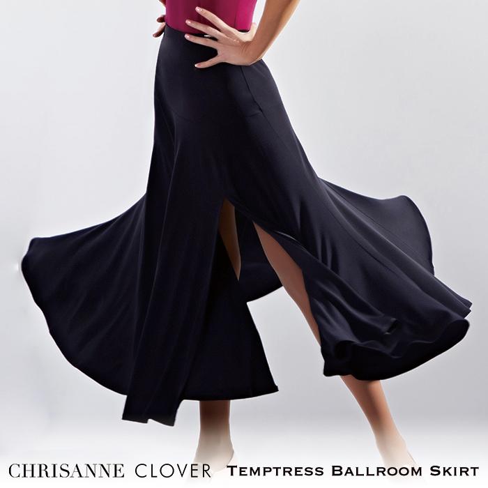 社交ダンス スカート 練習着 Chrisanne Clover クリスアンクローバー テンプトレス・ボールルームスカート(2020年コレクション)(ブラック) モダン スタンダード 社交ダンス衣装 ダンス レディース 女性 XS-XL 黒 海外