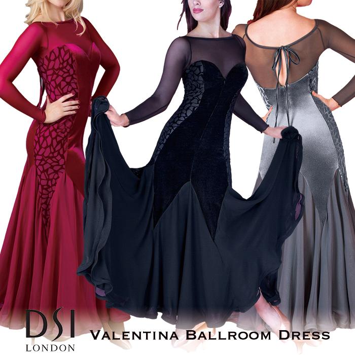 社交ダンス 練習着 モダンドレス DSIロンドン DSI London バレンティーナ・ボールルームドレス モダン ロングドレス ワンピース レディース ファッション 女性 XXS-L ブラック 黒 ヘマタイト グレー バーガンディ 赤 海外