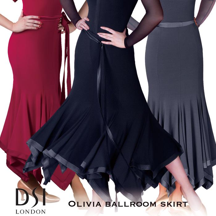 社交ダンス 練習着 スカート DSIロンドン DSI London オリビア・ボールルームスカート モダン ロングスカート レディース ファッション 女性 XXS-L ブラック 黒 ヘマタイト グレー バーガンディ 赤 海外