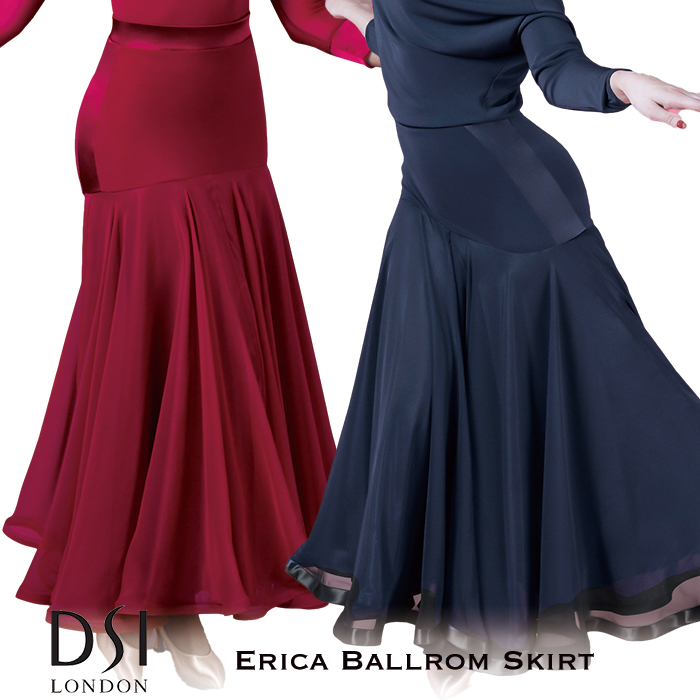 スタンダード 社交ダンス バーガンディ 海外 XS-L モダン レディース 練習着 London 黒 エリカ・ボールルームスカート DSI ブラック 赤 女性 ファッション スカート DSIロンドン モダンドレス
