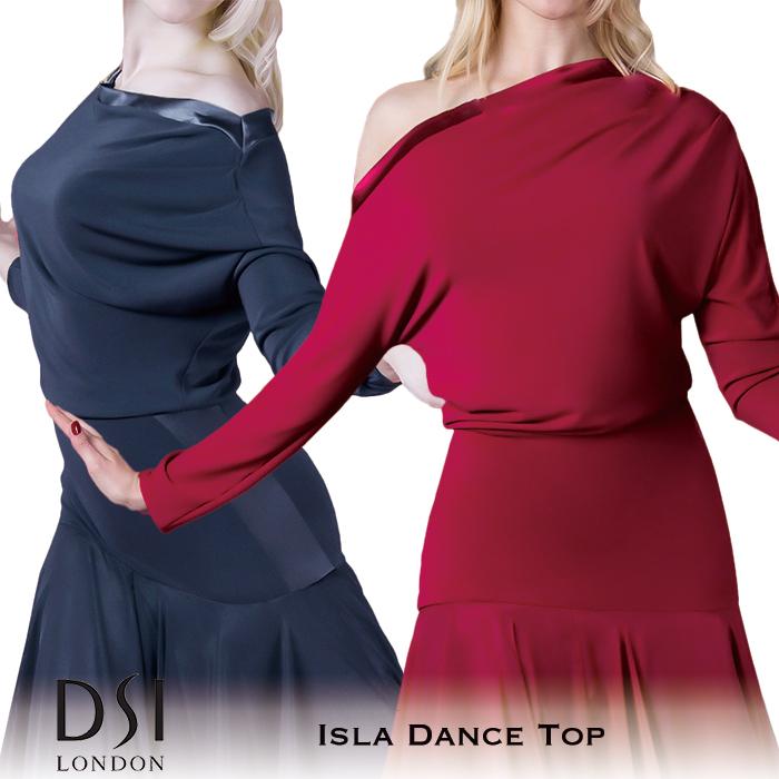 バーガンディ レディース DSIロンドン 海外 モダン London DSI 練習着 モダンドレス 赤 イスラ・ダンストップ ファッション 女性 社交ダンス トップス 黒 XS-L ラテン スタンダード ブラック