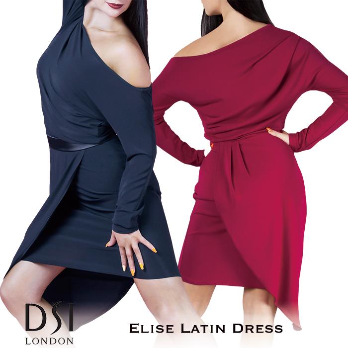 社交ダンス ワンピース 練習着 ラテンドレス DSIロンドン DSI London エリーゼ・ラテンドレス ラテン レディース ファッション 女性 XS-L ブラック 黒 バーガンディ 赤 海外