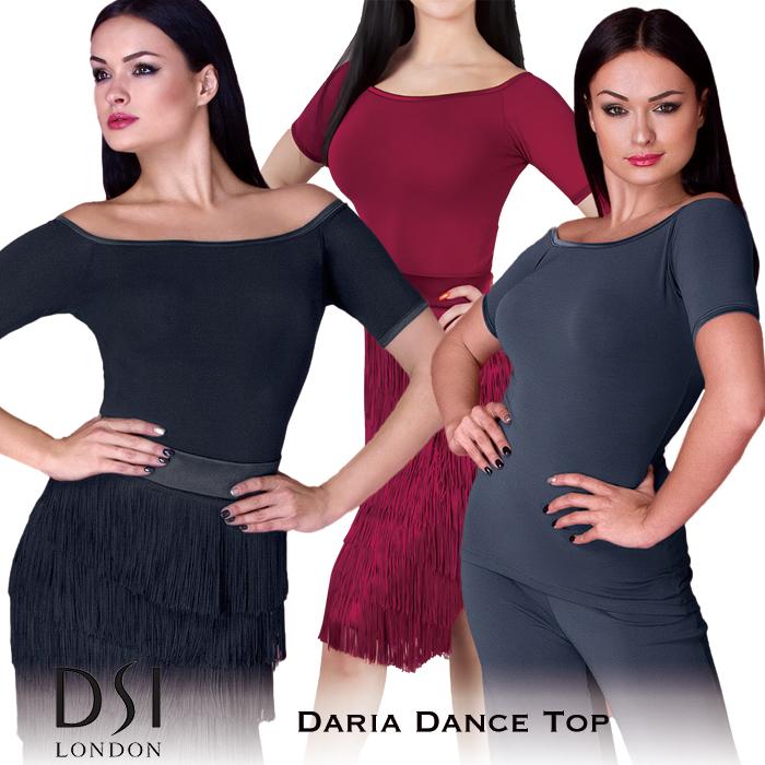 ダンストップス DSIロンドン DSI London ダリア・ダンストップ 社交ダンス 衣装 練習着 トップス レディース ファッション 女性 XXS-L ブラック 黒 ヘマタイト グレー バーガンディ 赤 海外