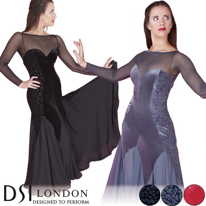 社交ダンス 練習着 モダンドレス DSIロンドン DSI London バレンティーナ・ボールルームドレス モダン ロングドレス ワンピース レディース ファッション 女性 XXS-L ブラック 黒 ヘマタイト グレー フラメンコ 赤 海外