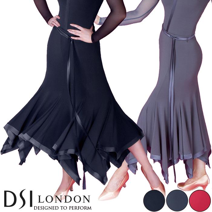 社交ダンス 練習着 スカート DSIロンドン DSI London オリビア・ボールルームスカート モダン ロングスカート レディース ファッション 女性 XXS-L ブラック 黒 ヘマタイト グレー フラメンコ 赤 海外