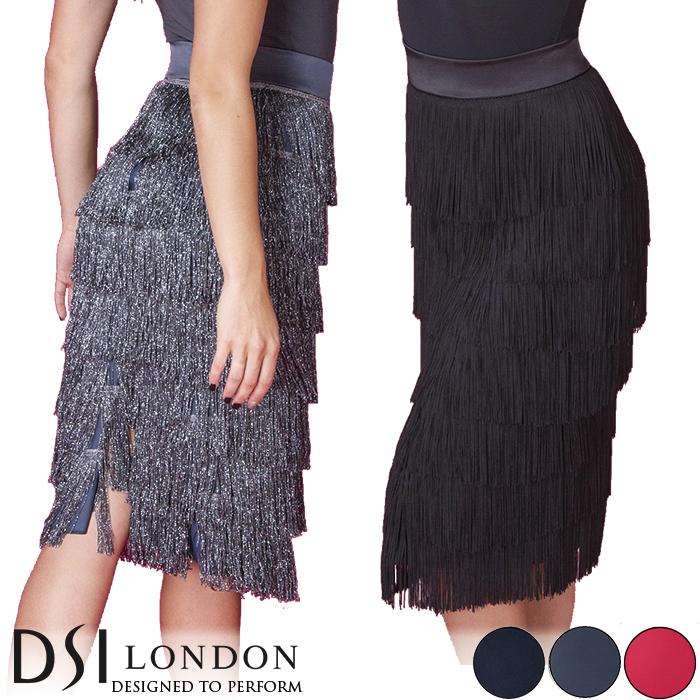 社交ダンス 練習着 スカート DSIロンドン DSI London ディー・ラテンスカート ラテン レディース ファッション 女性 XXS-L ブラック 黒 ヘマタイト グレー フラメンコ 赤 海外