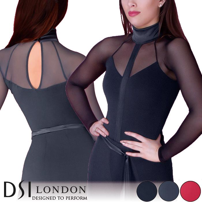 ダンストップス DSIロンドン DSI London マリカ・ダンスレオタード 社交ダンス 衣装 練習着 トップス レオタード レディース ファッション 女性 XXS-L ブラック 黒 ヘマタイト グレー フラメンコ 赤 海外