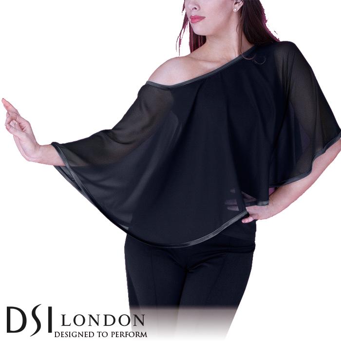 ダンストップス DSIロンドン DSI London ピッパ・ケープトップ 社交ダンス 衣装 練習着 トップス レディース ファッション 女性 XXS-L ブラック 黒 ヘマタイト グレー フラメンコ 赤 海外