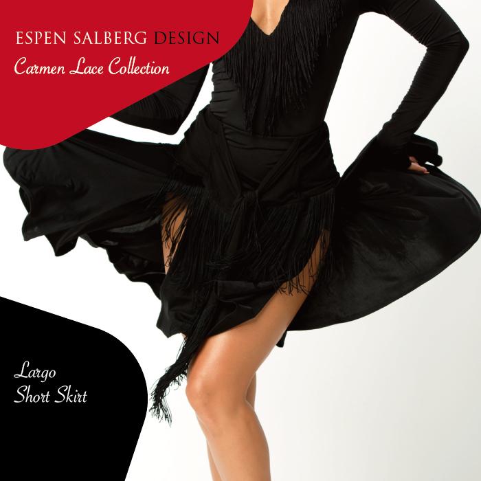 社交ダンス ダンスウェア スカート ESPEN SALBERG エスパン・サルバーグ ラルゴ・ショートスカート(ブラック)- 社交ダンス 社交ダンス衣装 社交ダンスウェア 衣装 スカート ラテン 海外 ブランド -
