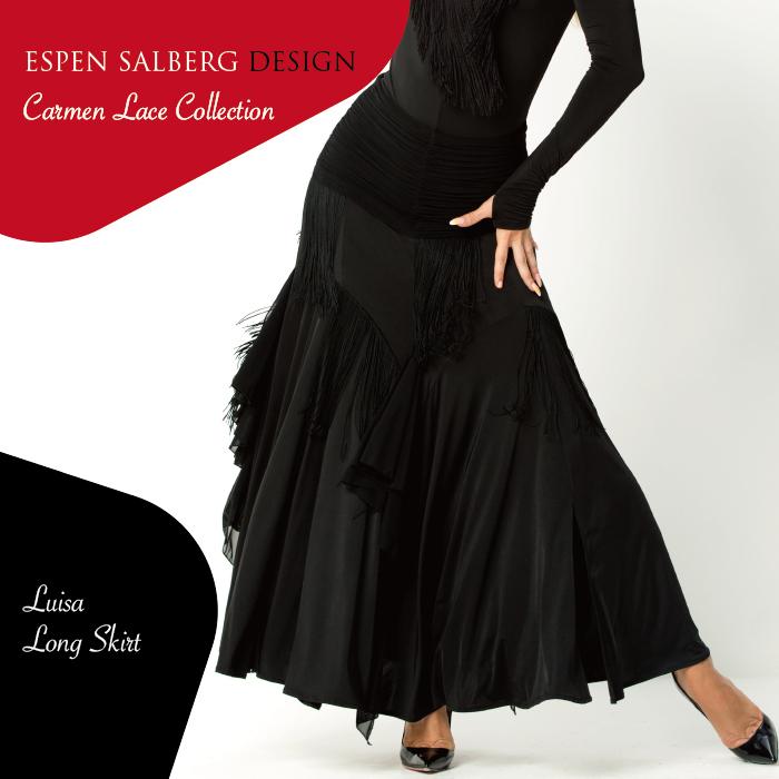社交ダンス ダンスウェア スカート ESPEN SALBERG エスパン・サルバーグ ルイーザ・ロングスカート(ブラック)- 社交ダンス 社交ダンス衣装 社交ダンスウェア 衣装 スカート モダン スタンダード ラテン 海外 ブランド -