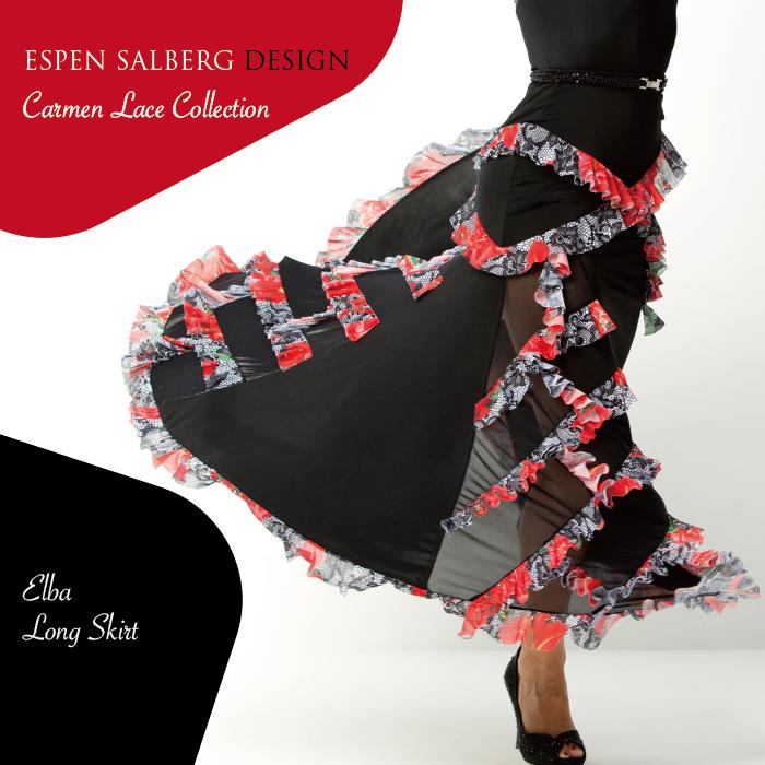 社交ダンス ダンスウェア スカート ESPEN SALBERG エスパン・サルバーグ エルバ・ロングスカート(プリント)- 社交ダンス 社交ダンス衣装 社交ダンスウェア 衣装 スカート モダン スタンダード ラテン 海外 ブランド -