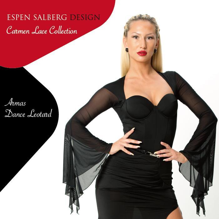 社交ダンス ダンスウェア トップス ESPEN SALBERG エスパン・サルバーグ アルマス・レオタード(ブラック)- 社交ダンス 社交ダンス衣装 社交ダンスウェア 衣装 トップス モダン スタンダード ラテン 海外 ブランド -