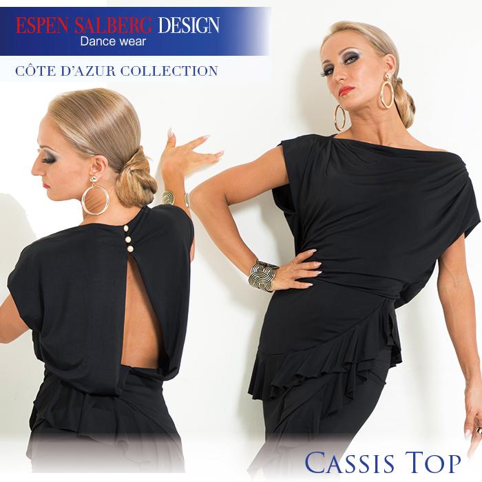 ダンストップス エスパン サルバーグ ESPEN SALBERG カシストップ(ブラック) 社交ダンス 衣装 練習着 トップス レディース 女性 XS-L 黒 プリント 2色展開 限定品 海外