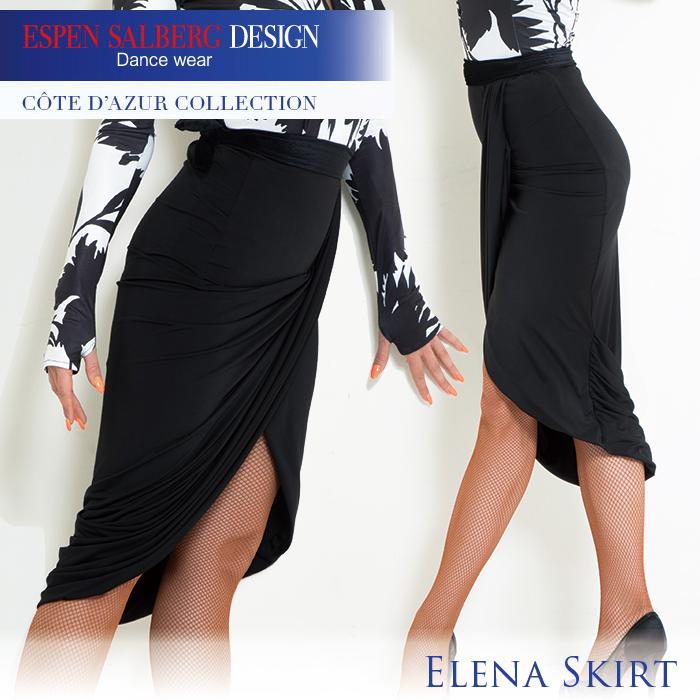 社交ダンス 練習着 スカート エスパン サルバーグ ESPEN SALBERG エレーネスカート(ブラック) レディース 女性 XS-L 黒 プリント 2色展開 限定品 海外